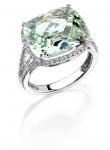Cushion Color Stone Diamond Ring