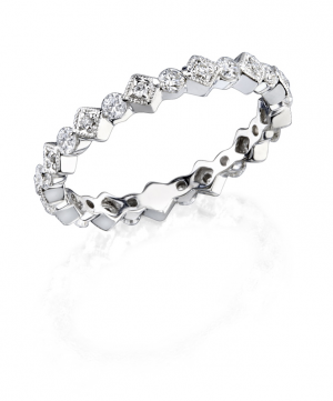 Diamond Station Stackable Ring