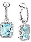 Rectangular Drop Color Stone Diamond Earring
