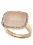 Rose Quartz Cushion Diamond Ring