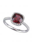 Garnet Cushion Cut Diamond Ring