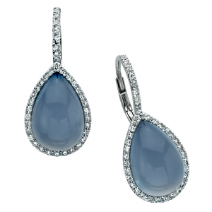 Chalcedony Egg Drop Diamond Earrings