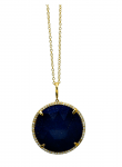 Rose Cut Lapis Diamond Round Pendant