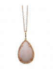Rose Cut Pink Opal Large Pear Necklace