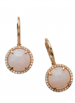 Rose Cut Pink Opal Round Earring