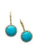 Turquoise Diamond Round Earring