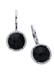 Rose Cut Onyx Round Diamond Earring