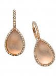 Rose Quartz Egg Drop Diamond Earring