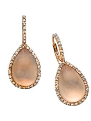 Rose Quartz Egg Drop Diamond Earring