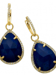 Rose cut Lapis Pear Drop Earrings
