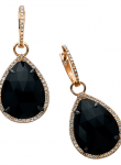 Rose Cut Onyx Pear Drop Earrings