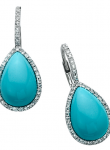 Turquoise Egg Drop Diamond Earring