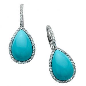 Turquoise Egg Drop Diamond Earring