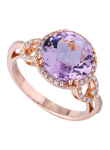 Pink Amethyst, Diamond Ring