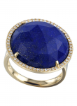 Rose Cut Lapis Dome Ring