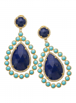 Tear Drop Lapis, Recontrusted Turquoise, Diamond Earring