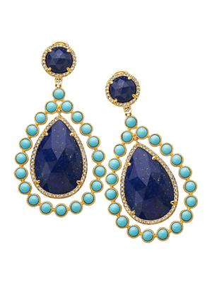 Tear Drop Lapis, Recontrusted Turquoise, Diamond Earring
