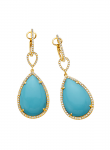 Tear Drop Recontrusted Turquoise, Diamond Earring