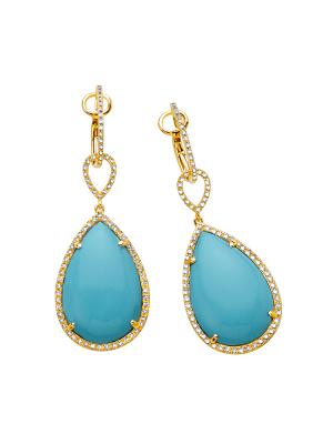 Tear Drop Recontrusted Turquoise, Diamond Earring