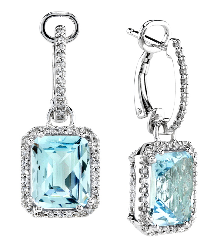 Rectangular Drop Color Stone Diamond Earring