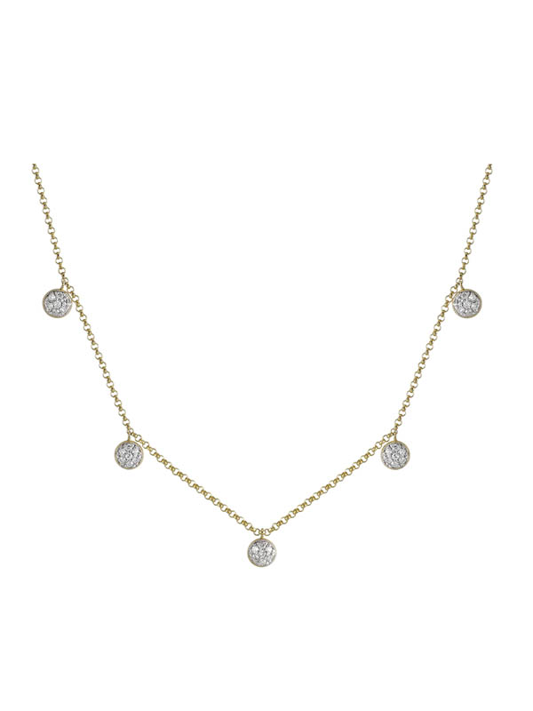 Golden Crown Jewelry » Diamond Disc Drop Necklace